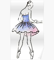 ballerina figure, watercolor illustration Poster