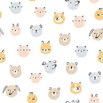 Cute animal faces seamless pattern by stolenpencil