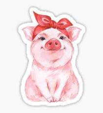 Piggy in Rot Sticker