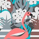 Flamingo, pineapples, flowers by cocodes