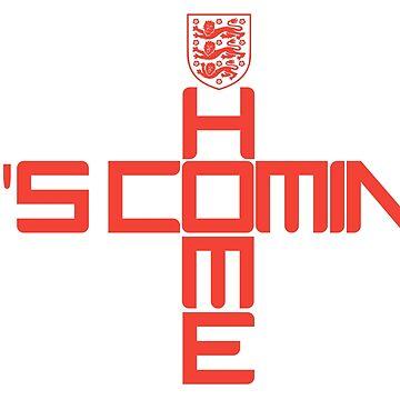 IT'S COMING HOME THREE LIONS ENGLAND FOOTBALL FLAG ENGLISH PRIDE TSHIRT  by prezziefactory