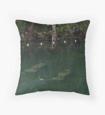 Manatees at Blue Springs Throw Pillow