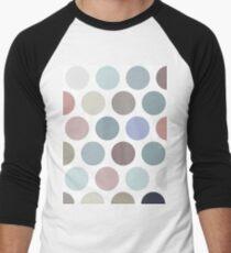 Polka dot seamless pattern. Pastel color dot on white background.  Men's Baseball ¾ T-Shirt