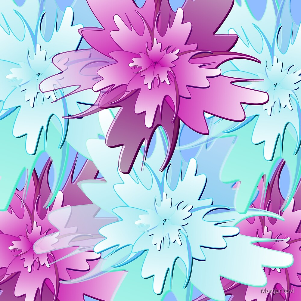 Pink and blue abstract flowers by margaritavl redbubble pink and blue abstract flowers izmirmasajfo
