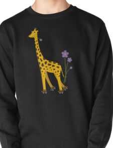 Purple Cartoon Funny Giraffe Roller Skating T-Shirt