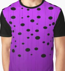 Black ovals, dots on strings purple pattern Graphic T-Shirt