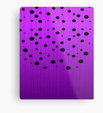 Black ovals, dots on strings purple pattern Metal Print