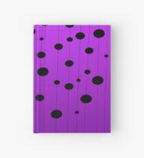 Black ovals, dots on strings purple pattern Hardcover Journal