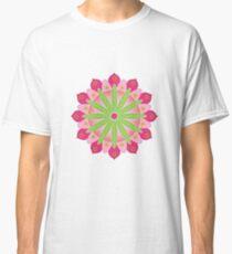 Mandala fleur, rosace verte et rose T-shirt classique