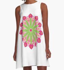 Mandala fleur, rosace verte et rose Robe trapèze