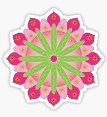 Mandala fleur, rosace verte et rose Sticker