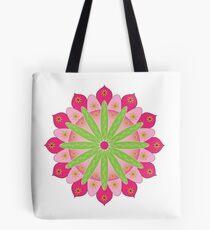 Mandala fleur, rosace verte et rose Tote bag