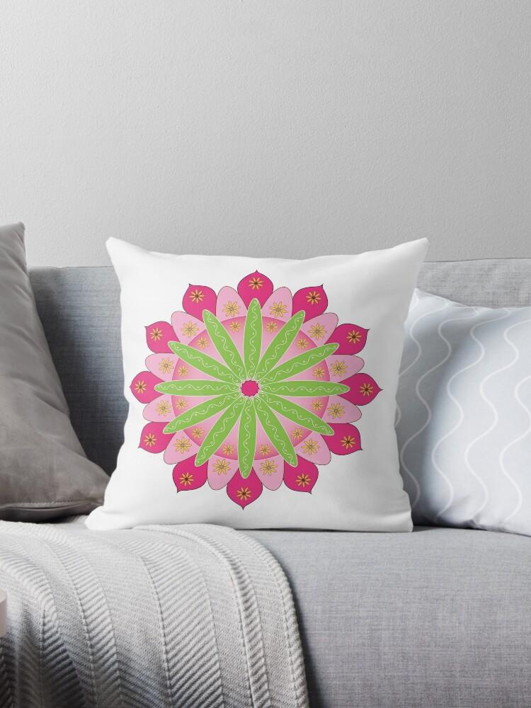 « Mandala fleur, rosace verte et rose » par RosaLeeDesign