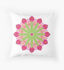 Mandala fleur, rosace verte et rose Coussin