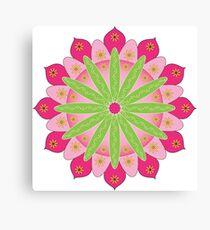 Mandala fleur, rosace verte et rose Impression sur toile