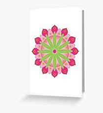 Mandala fleur, rosace verte et rose Carte de vœux