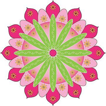 «Mandala fleur, rosace verte et rose» par RosaLeeDesign