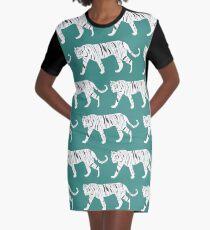 Tiger-Druck-Knickente T-Shirt Kleid