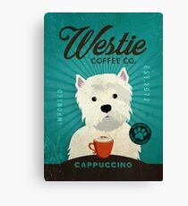 Westie Terrier Coffee Company Dog Artwork Canvas Print