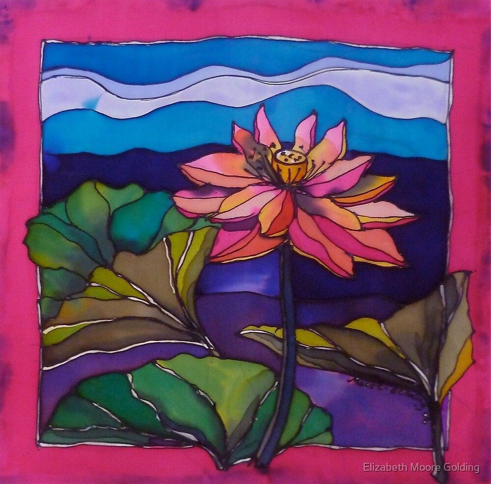 Lotus: Kakadu. Silk painting 2006 Ⓒ by Elizabeth Moore Golding