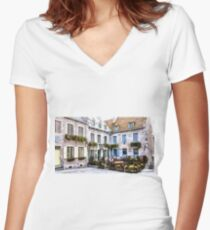 Place Royale - Old Quebec City Women's Fitted V-Neck T-Shirt