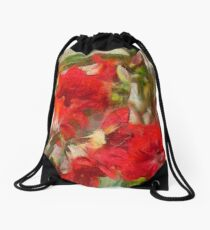 Red Lilies Drawstring Bag