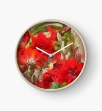 Red Lilies Clock