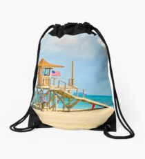 Mother and Daughter at the Beach Drawstring Bag