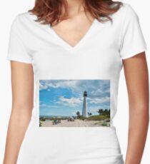 Lighthouse Beach Women's Fitted V-Neck T-Shirt