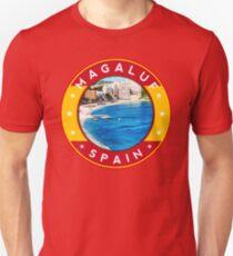 Magaluf Spain, tshirt, red bg Unisex T-Shirt