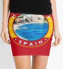 Magaluf Spain, tshirt, red bg Mini Skirt