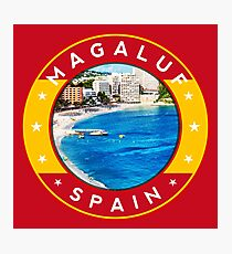 Magaluf Spain, tshirt, red bg Photographic Print