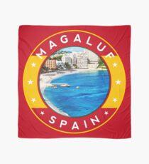 Magaluf Spain, tshirt, red bg Scarf