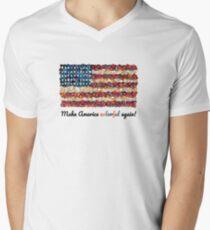 Mach Amerika wieder farbenfroh T-Shirt mit V-Ausschnitt für Männer