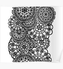 Delicate knitted lace of round doilies, seamless pattern Poster