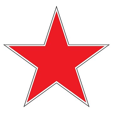 RED STAR, WITH WHITE and BLACK BORDER by TOMSREDBUBBLE