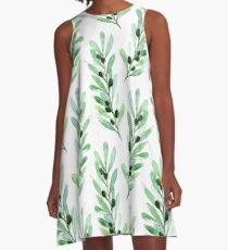 Olive branch pattern in blue A-Line Dress