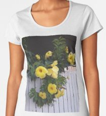 yellow flowers on the gatedoor Women's Premium T-Shirt