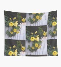yellow flowers on the gatedoor Wall Tapestry