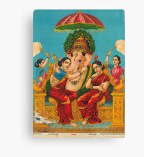 Art : Raja Ravi Varma - Ganesh with Riddhi and Siddhi Canvas Print