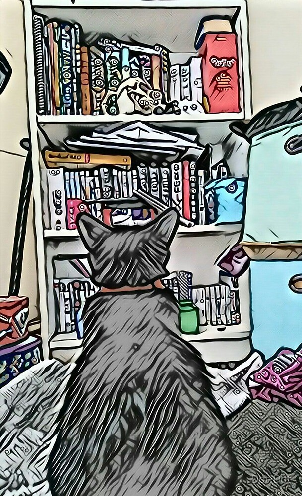 Cat and a book case by Dot-Dot