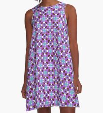 retro artwork style sixties seamless colorful repeat pattern A-Line Dress