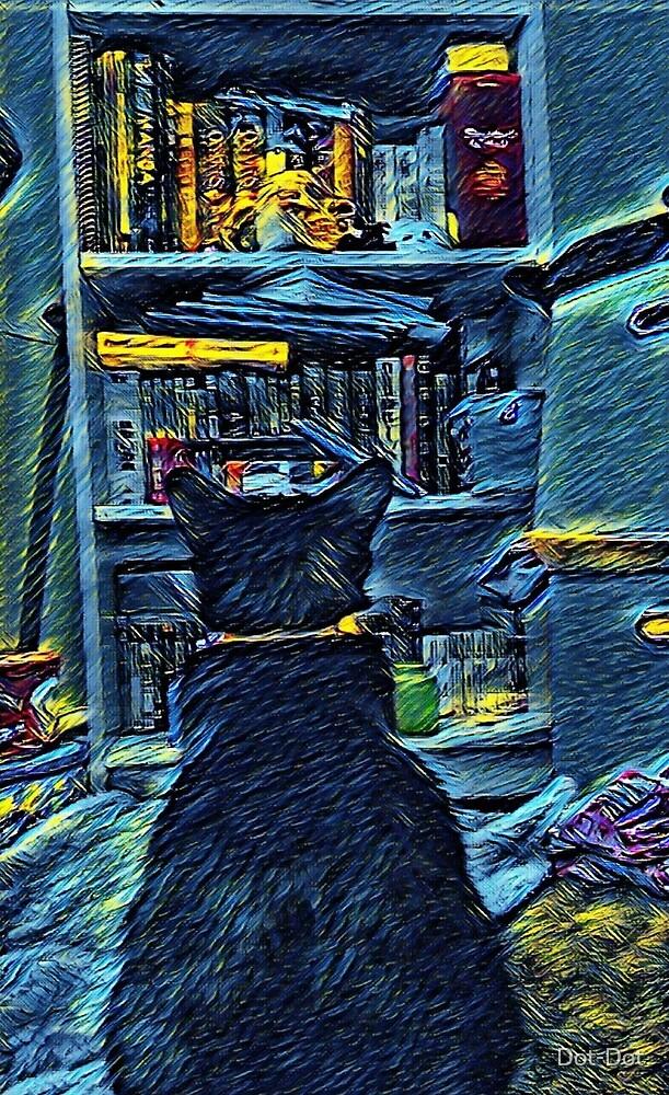 Cat and a bookshelf by Dot-Dot