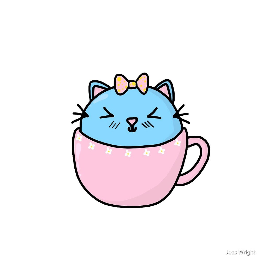 Pastel 'Cat in a Cup' Kitty by hazelfaerie