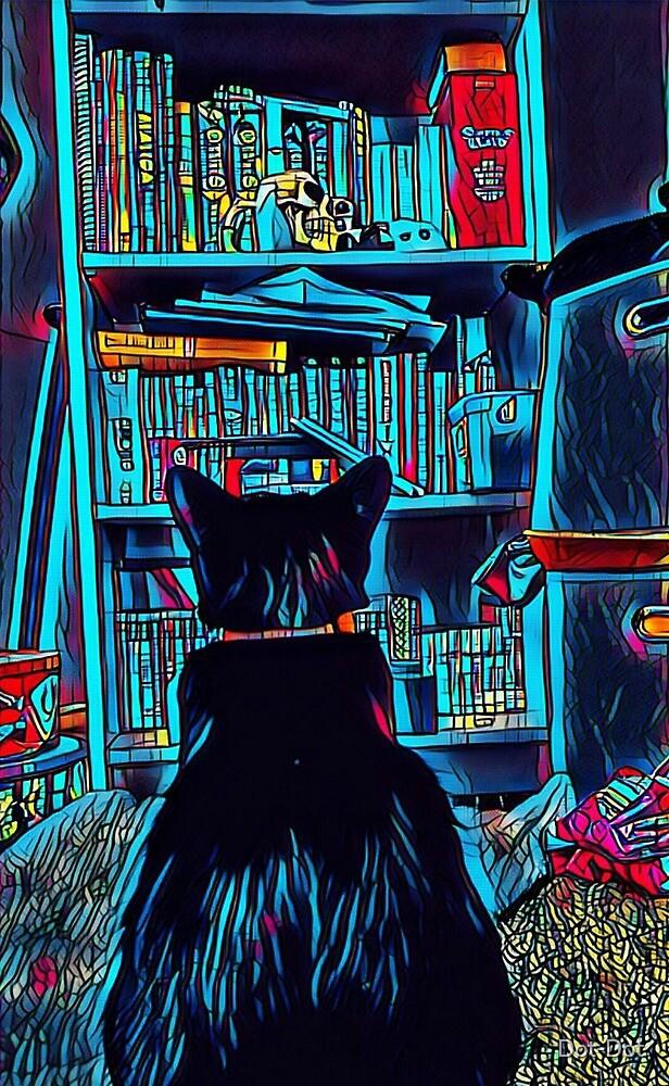 Cat and a book shelf by Dot-Dot