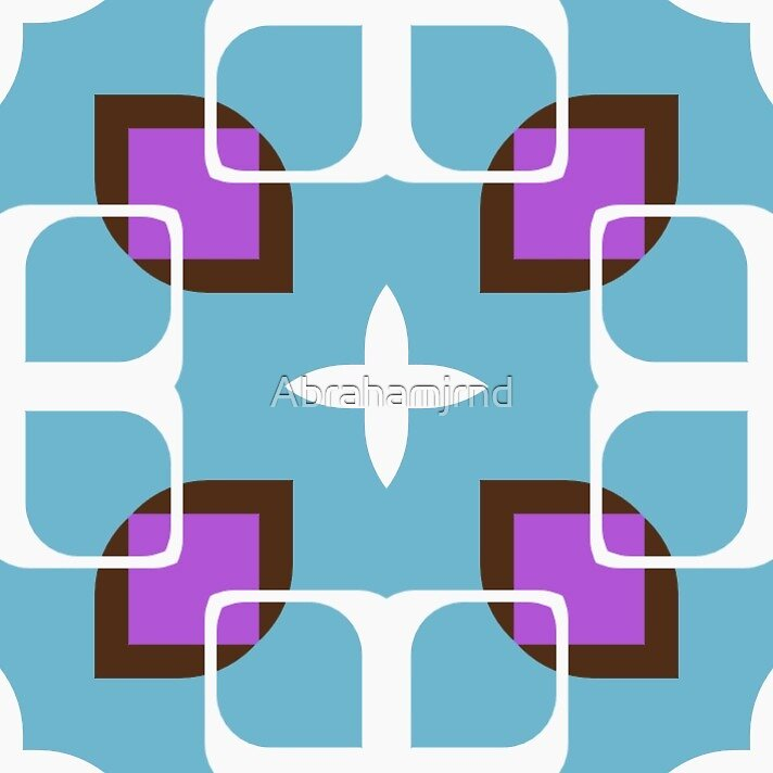 shapes 60's square decor seamless colorful repeat pattern by Abrahamjrnd