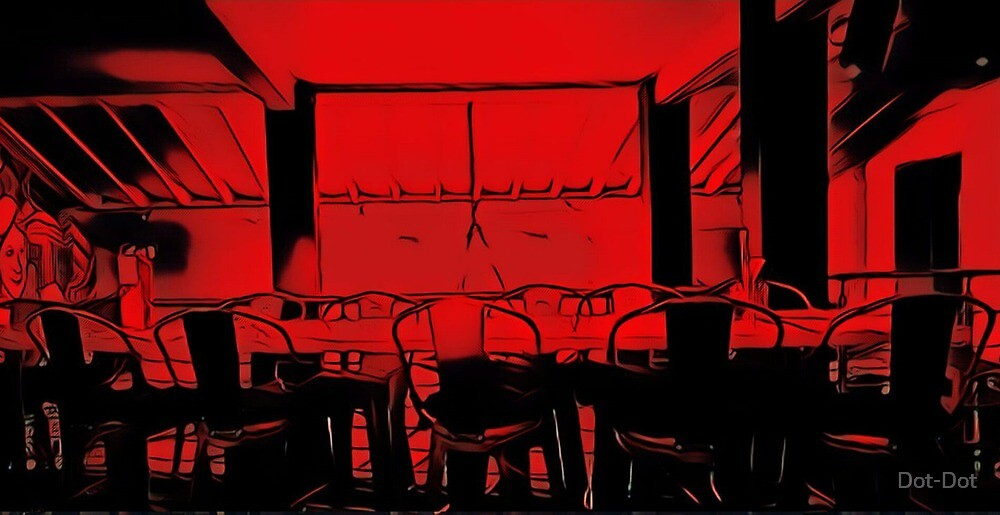 Dining in the evening (black and red) by Dot-Dot