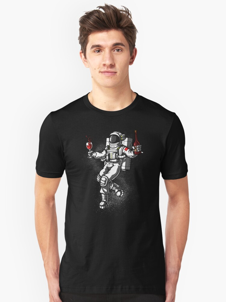 Space Astronaut Drinking Wine Cosmic Universe Unisex T-Shirt Front