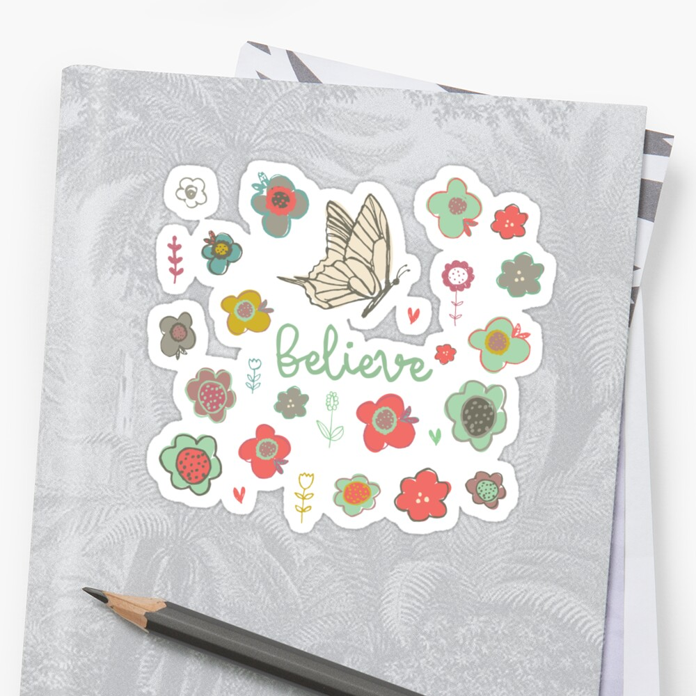 Believe with Butterfly and Flowers Christian sticker, tumbler decal, illustrated faith by UncommonFaith
