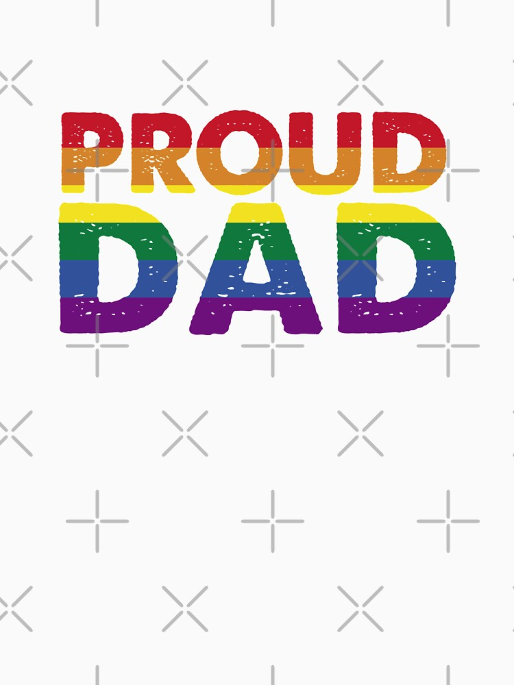 Mens Proud Dad, LGBT Rainbow Flag by thequeershop